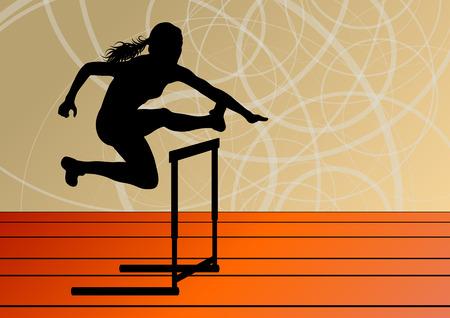 girl sport: Atletica di sport donne attive ragazza ostacoli barriera in esecuzione sagome illustrazione vettoriale Vettoriali