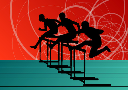 hurdles: Active men sport athletics hurdles barrier running silhouettes illustration collection background vector Illustration