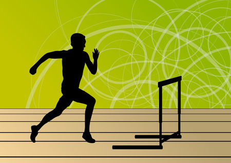 Active men sport athletics hurdles barrier running silhouettes illustration collection background vector Vector