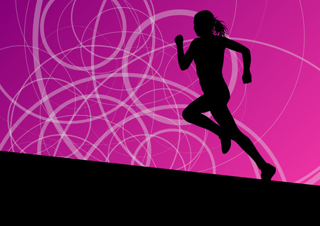 Active women sport athletics running silhouettes illustration abstract background vector Vector