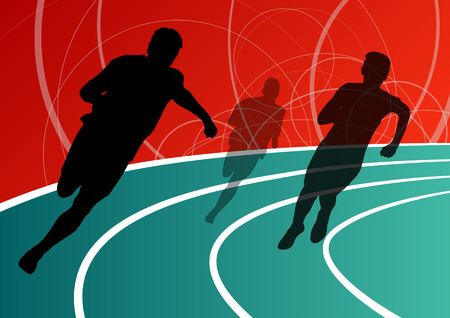 pentathlon: Active men runner sport athletics running silhouettes illustration background vector