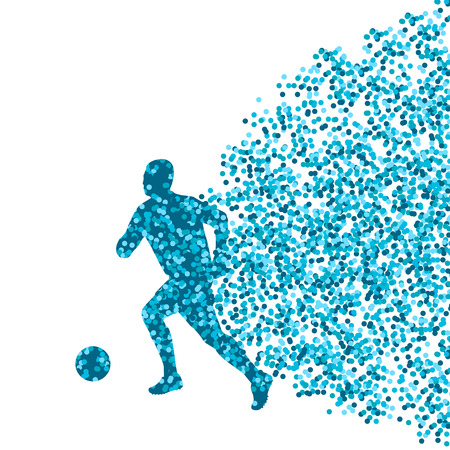 striker: Soccer player winner vector background concept isolated  made of dots fragments explosion Illustration