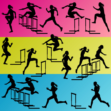 Active women girl sport athletics hurdles barrier running silhouettes illustration collection background vector Vector