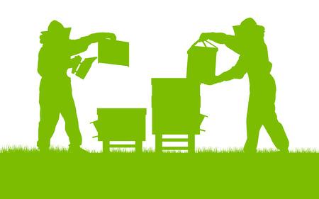 Imkers werken in bijenstal vector achtergrond ecologisch concept kaart voor poster