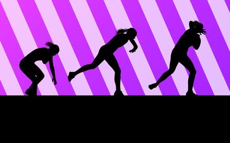 lancio del peso: Athletic donna girato put vettore sfondo concetto per poster Vettoriali