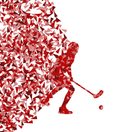 Floor ball player vector silhouette made of triangle fragments vector abstract background for poster Vector