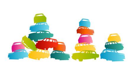 junkyard: Iron scrap car junkyard vector background landscape concept for poster
