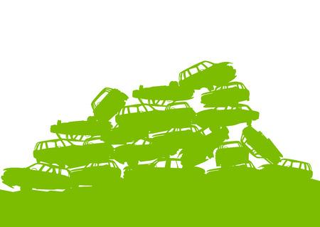 Junkyard, waste, dump green ecology background concept waste management and sorting for poster Vector
