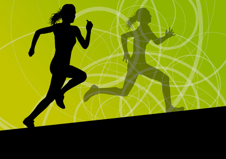 athletic body: Active women sport athletics running silhouettes illustration abstract background vector Illustration