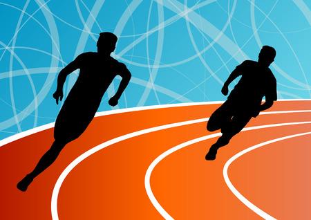 Active men runner sport athletics running silhouettes illustration background vector