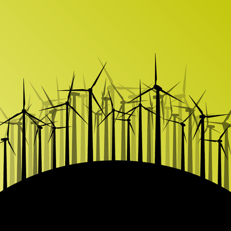 Wind electricity generators and windmills detailed ecology electricity silhouettes illustration collection abstract background vector concept Vector