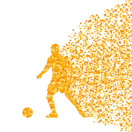 Soccer player winner vector background concept isolated  made of dots fragments explosion Vector