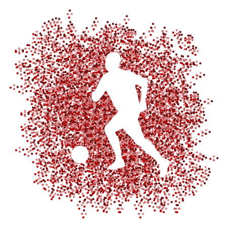 dodge: Soccer player winner vector background concept isolated  made of dots fragments explosion Illustration