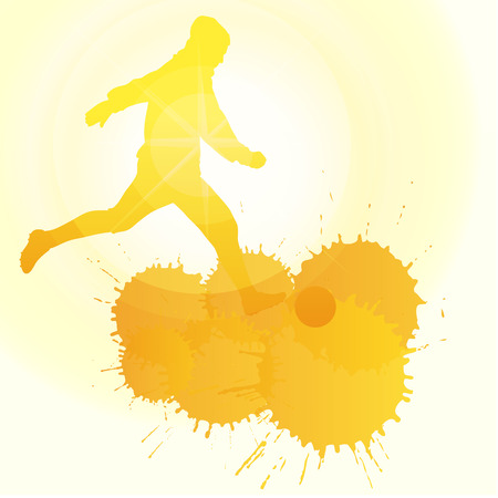 striker: occer players silhouette vector background concept with ink splashes and sun for poster
