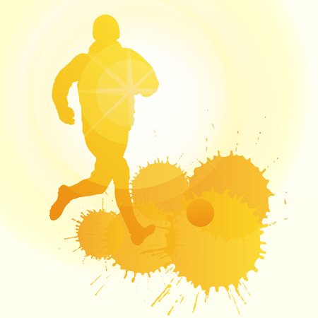 penal: occer players silhouette vector background concept with ink splashes and sun for poster