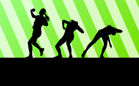 put: Athletic woman shot put vector background concept for poster
