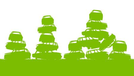 sorting: Junkyard, waste, dump green ecology background concept waste management and sorting for poster Illustration