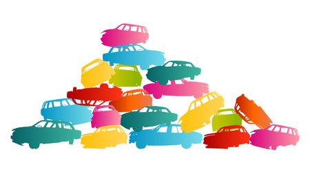 hazardous metals: Iron scrap car junkyard vector background landscape concept for poster