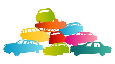 Iron scrap car junkyard vector background landscape concept for poster Stock Vector - 26770886