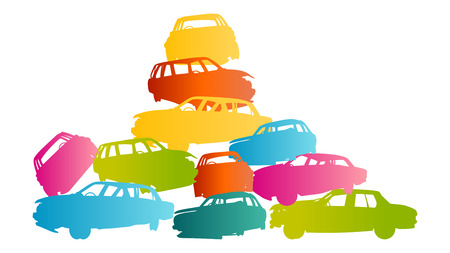 Iron scrap car junkyard vector background landscape concept for poster Stock Vector - 26770887