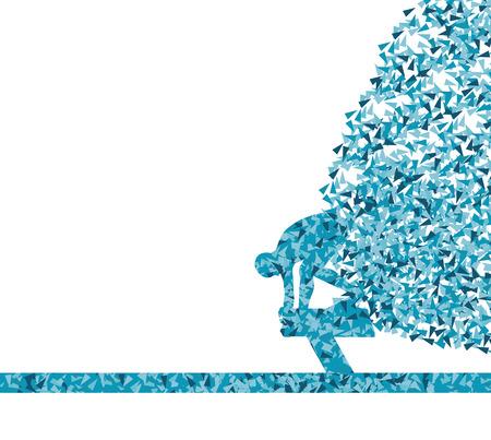 Schwimmer springen abstrakten Hintergrund Vektor für Plakat Vektorgrafik