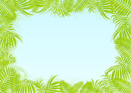 Exotic forest jungle leaves, grass and herbs vector background Vector