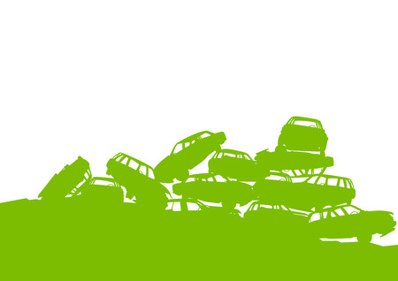 junkyard: Junkyard, waste, dump green ecology background concept waste management and sorting for poster Illustration