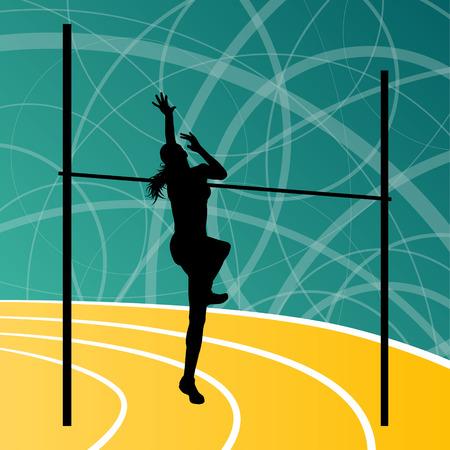 girl sport: Atletica salto in alto attiva donna ragazza concetto di sport silhouette illustrazione vettoriale