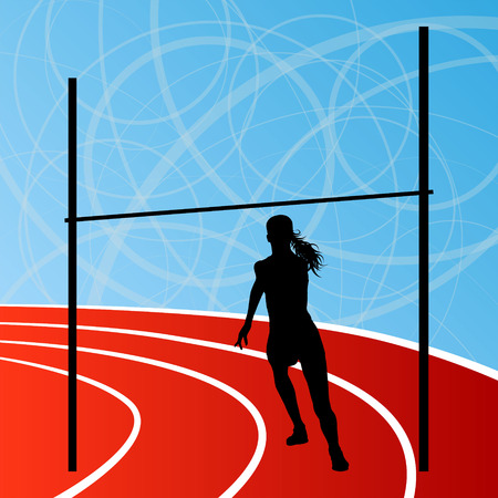 high jump: High jump athletics active woman girl sport silhouette concept illustration background vector