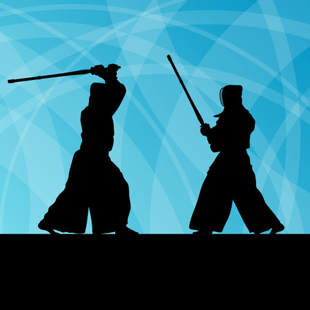 Active japanese kendo sword martial arts fighters sport\ silhouettes abstract illustration background vector