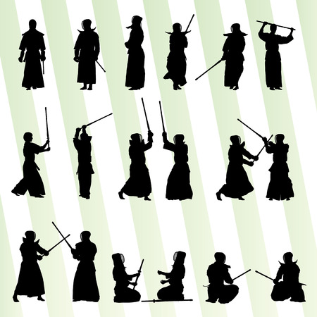 Active japanese Kendo sword martial arts fighters sport silhouettes set vector Vector