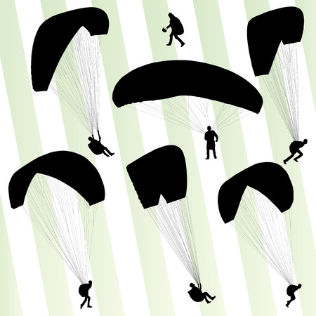 parapente: Parapente historial deportivo activo conjunto de vectores para el cartel