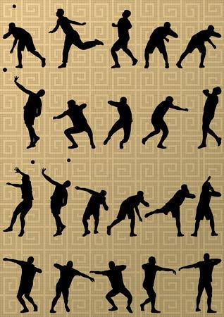 lanzamiento de bala: Atletismo deporte masculino. Bola que lanza colección de siluetas. resumen ilustración, vector de fondo Vectores