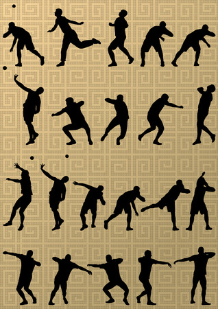 put: Male sport athletics. ball throwing silhouettes collection. abstract illustration, background vector