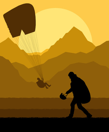 harness: Paragliding vector background landscape concept vector with mountains Illustration
