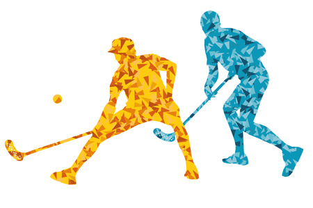 floorball: Floorball players vector silhouette background abstract concept