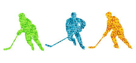 Ice hockey player silhouette sport abstract vector background for poster Vector