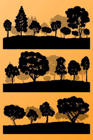 Forest trees silhouettes landscape illustration collection background set vector for poster Vector
