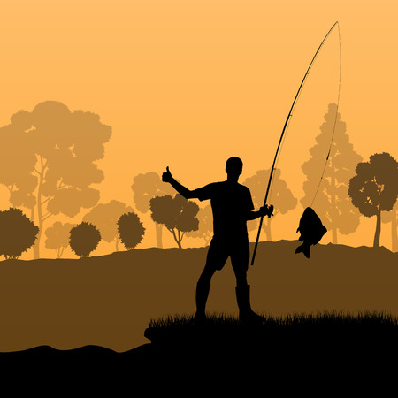 anglers: Fisherman, angler vector background landscape concept with trees and river Illustration