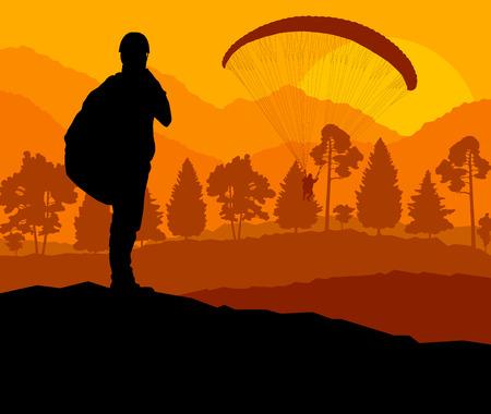 parapente: Fondo Parapente vector concepto de paisaje vector para el cartel Vectores