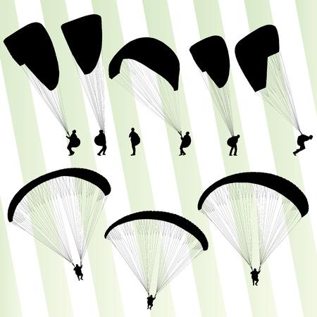 gliding: Paragliding active sport background set vector for poster Illustration