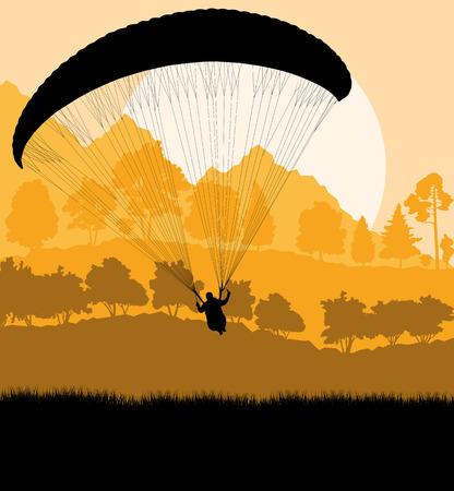 hang glider: Paragliding vector background landscape concept vector for poster