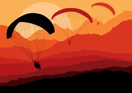 parapente: Paragliding vector achtergrond landschap begrip vector met bergen Stock Illustratie