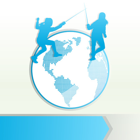 duel: Fencing sport silhouette vector background concept with globe