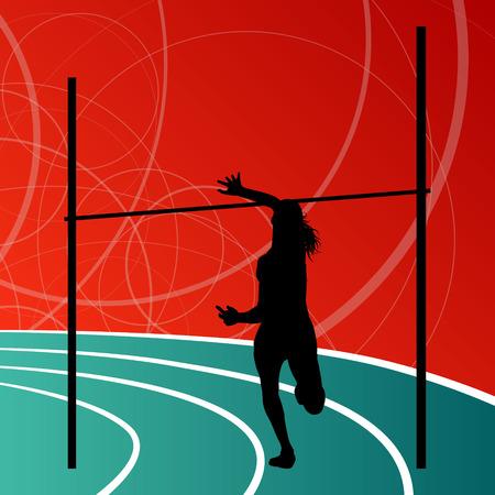 girl sport: Atletica salto in alto attiva donna ragazza concetto di sport silhouette illustrazione vettoriale sfondo