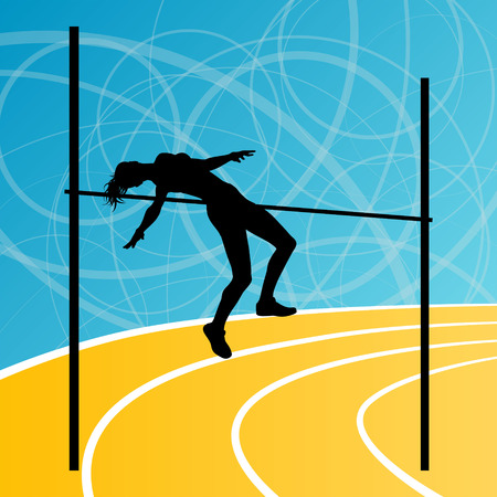 woman jump: High jump athletics active woman girl sport silhouette concept illustration background vector