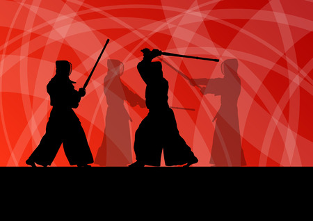 warrior pose: Active japanese kendo sword martial arts fighters sport silhouettes abstract illustration background vector
