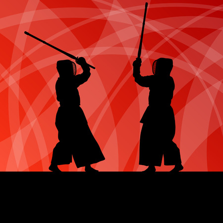 Active japanese kendo sword martial arts fighters sport silhouettes abstract illustration background vector Vector