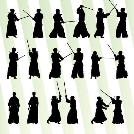 kendo: Active japanese Kendo sword martial arts fighters sport silhouettes set vector