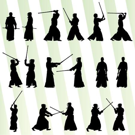 Active japanese Kendo sword martial arts fighters sport silhouettes set vector Vector
